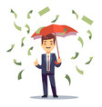 businessman standing with umbrella in money rain vector image
