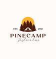 camp with pine tree sunset logo template isolated vector image vector image