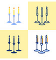 candles in holder icon set in flat and line style vector image vector image