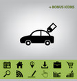 car sign with tag black icon at gray vector image vector image