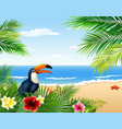 Card with tropical beach plants and toucan
