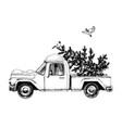 card with truck christmas tree and bullfinches vector image vector image