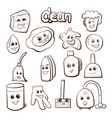 cartoon items for cleaning vector image