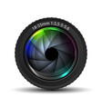 colorful camera lens on white background vector image vector image