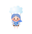 cute fairy cloudy girl with blue hair stay on vector image vector image