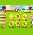 cute insect game template vector image vector image