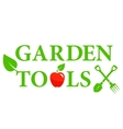 garden tools icon with red apple vector image vector image