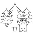 grunge ethnic bear animal with pine trees vector image vector image
