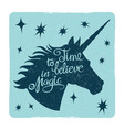 grunge vintage card with inspiring unicorn vector image vector image