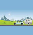 happy couple driving car on road on a sunny vector image vector image