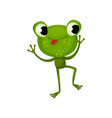 happy dancing frog with tongue out green reptile vector image
