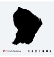 High detailed map of French Guiana with navigation vector image