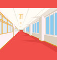 interior of school hall with red floor windows vector image vector image