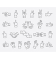 Lined hands gestures and hand pas signs vector image