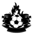 lions and a fiery soccer ball vector image