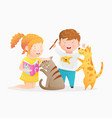 little girl holding a book reading to cat boy vector image vector image