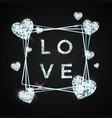 love design in brilliant stone diamond heart and vector image
