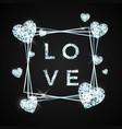love design in brilliant stone diamond heart vector image