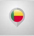 map navigation pointer with benin flag design vector image vector image