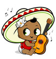 mariachi bagirl playing guitar vector image vector image