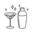 martini glass with olive shaker outline icon vector image