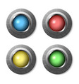 metalic style buttons set vector image