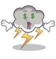 money eye thunder cloud character cartoon vector image