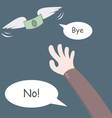 Money flying away from hand vector image vector image