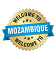 Mozambique 3d gold badge with blue ribbon vector image vector image