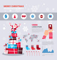 new year and christmas infographics set with santa vector image