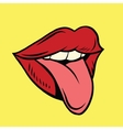 Red pop art mouth with tongue hanging out vector image
