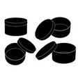 round gift box open and closed set flat black vector image