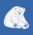 sad cute adult polar bear hand drawn with contour vector image vector image