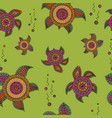 seamless pattern with abstract turtles in doodle vector image vector image