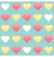 Seamless pattern with yellow red and white hearts vector image vector image