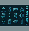 set bomb blue glowing neon icons vector image