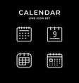 set line icons calendar vector image