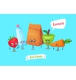 set lunch characters cute cartoons vector image vector image