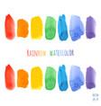 set of raindow watercolor brush strokes vector image vector image