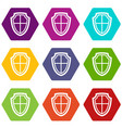 shield icon set color hexahedron vector image vector image