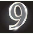 Silver metallic number vector image vector image