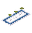square isometric 3d pool with palms and lamps vector image vector image