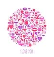 valentines day mosaic icons circle card vector image vector image