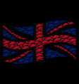 waving united kingdom flag mosaic of ufo items vector image vector image