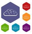 winter cloud icons set hexagon vector image vector image