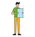 young man holding paper on white background vector image