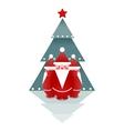 Three Santas and Christmas Tree vector image