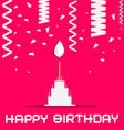 Happy Birthday with Cake and Confetti on Pink vector image