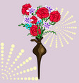 a decorative vase in the wall bouquet of flowers vector image vector image