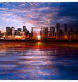 abstract evening background with panorama of city vector image vector image
